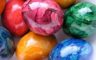 Красим мраморные яйца